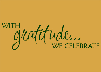 With Gratitude We Celebrate Vinyl Wall Statement