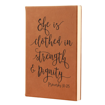 She Is Clothed In Strength Leatherette Journal