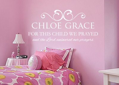 For This Child We Prayed Personalized Vinyl Wall Statement