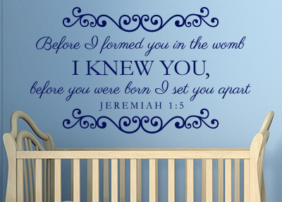 Before You Were Born I Set You Apart Vinyl Wall Statement - Jeremiah 1:5