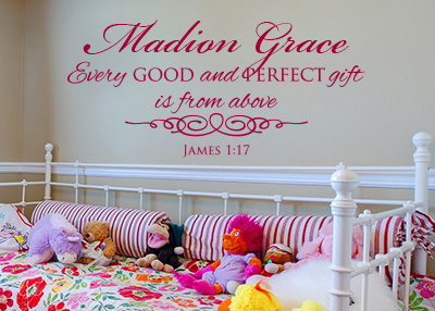 Every Good and Perfect Gift Personalized Vinyl Wall Statement - James 1:17